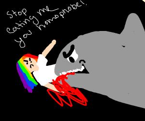 Shark eating a person with rainbow hair