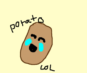 the LOL face on a potato