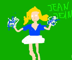 blond woman in white dress cheering for Jean