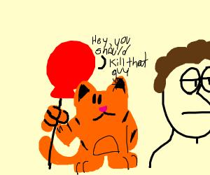 red balloon asking Garfield to kill jon