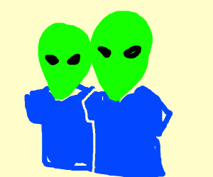Two alien heads with Blue shirts on