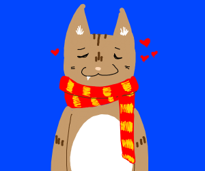 cozy cat with scarf