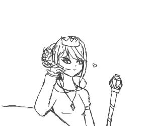 Sassy, confident queen admires her scepter
