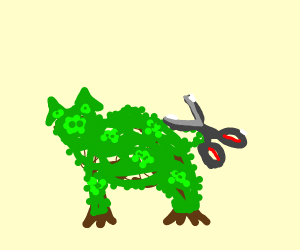 trimming a pig-shaped hedge