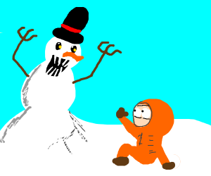 Kid scared of snowman