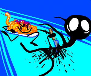 A plate of spaghetti killing a stick figure
