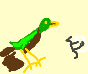 duck pooping with pulg