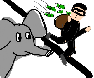 an elephant looking at a robber with a bag