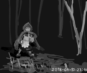 Little red riding hood caught on trail cam at