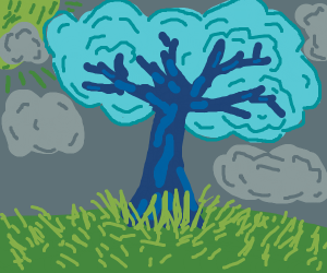 blue tree on green grass