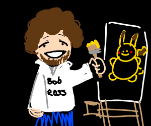 Bob Ross Painting Pikachu's Portrait