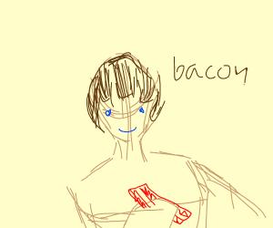Happy man,Why? Beacuse he got bacon (sun,cook
