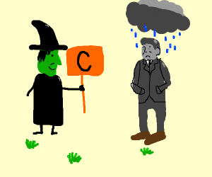 Witch Holds C Sign, Desolate Man