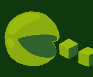 Green pacman and cubes