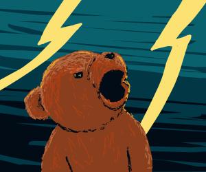 bear in lightning storm