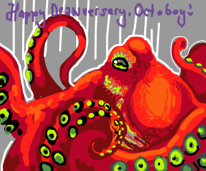 Octopus wishes Octoboy a happy anniversary