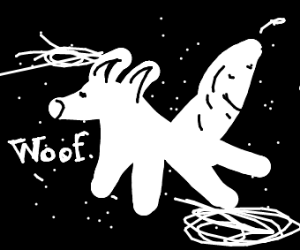 A wolf floating in space