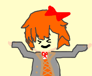 Sayori (DDLC) shrugging