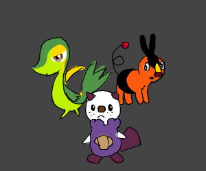 The generation five starters (Pokemon)