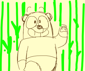 Panda in bamboo forest waving at you