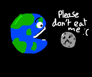 earth about to eat tasty moon
