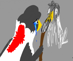 blue female duck draws red duck