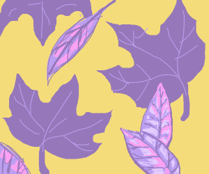 Purple leaves on yellow background