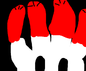A hand with sausage fingers