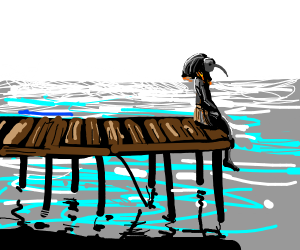 Thoth chills on a pier