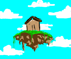 house on a floating island in the clouds
