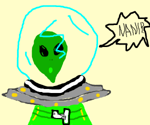green alien threatens the number 4 (NANI?!)