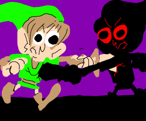 Link fights giant shadow man