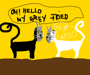 Two fake grey cats