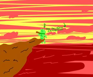 kermit sitting on a cliff alone