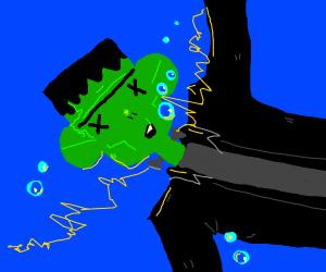 Frankenstein's Monster drowning