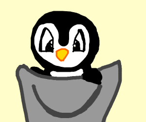 Penguin in a bucket