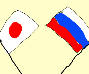 japan flag and russia flag