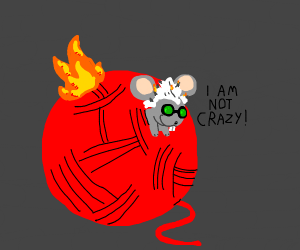 A not-crazy mouse caught up in a roll of yarn