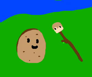 Potato sits next to grian stick