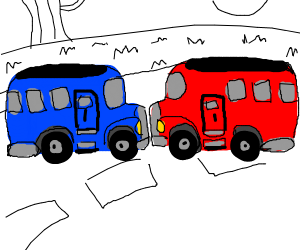 red and blue school bus