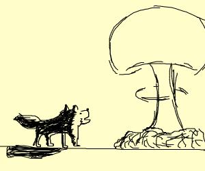 Cute woof woof meets his radioactive doom