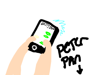 Peter Pan texting Betty Boop