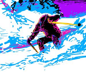 Headless man skiing