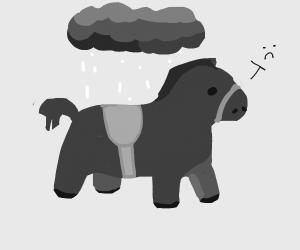 sad horse, B&W, w raining cloud above
