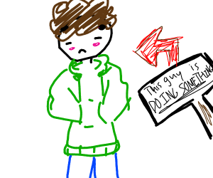 Guy in green hoodie doing something...