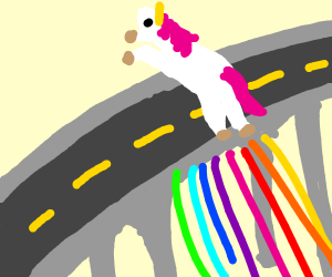 Unicorn jumping over the Highway