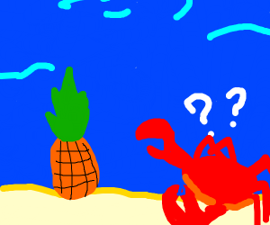 A confused crab, looking at a pineapple house