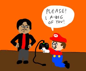 mario begging nintendo with xbox controller