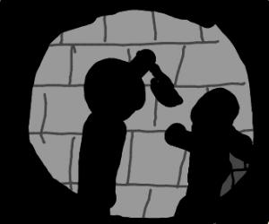Shadow of a man stabbing someone