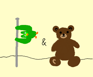 Duolingo self flags and stuffed teddy bears